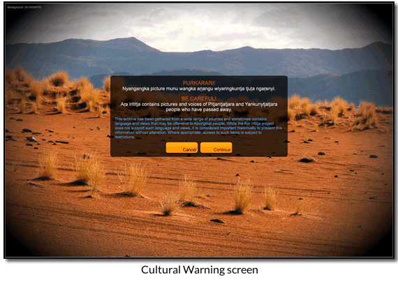 Cultural Warning screen