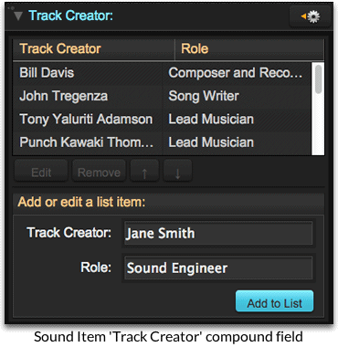 Sound item track creator compound field