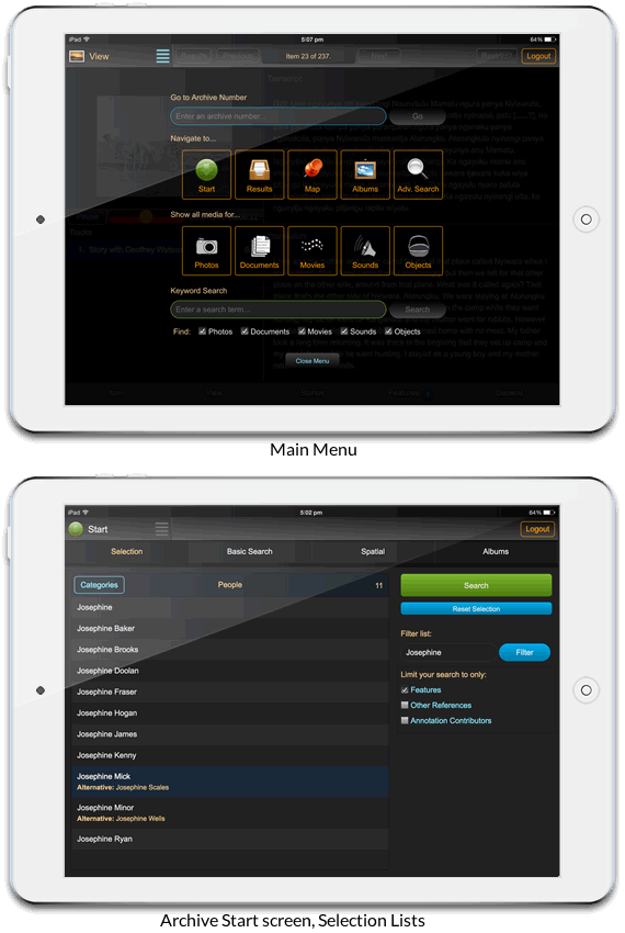 Mobile interface: main menu (above) and selection lists on the archive start screen (below)
