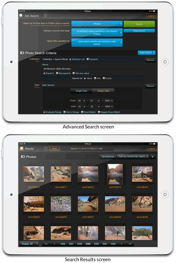 Mobile interface: advanced search screen (above) and search results screen (below)