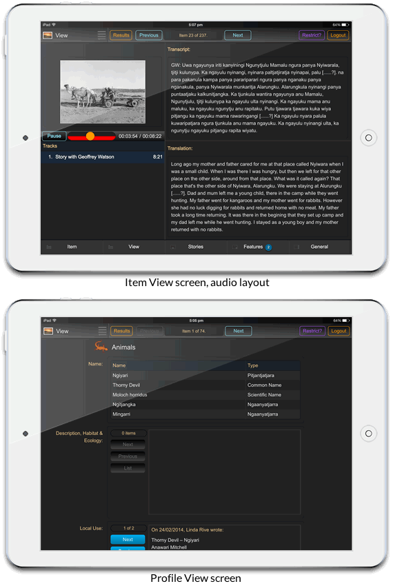 Mobile interface: item view screen audio layout (above) and profile view screen (below)