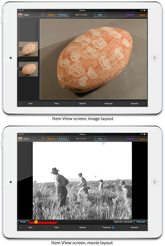 Mobile interface: item view image layout (above) and item view movie layout (below)