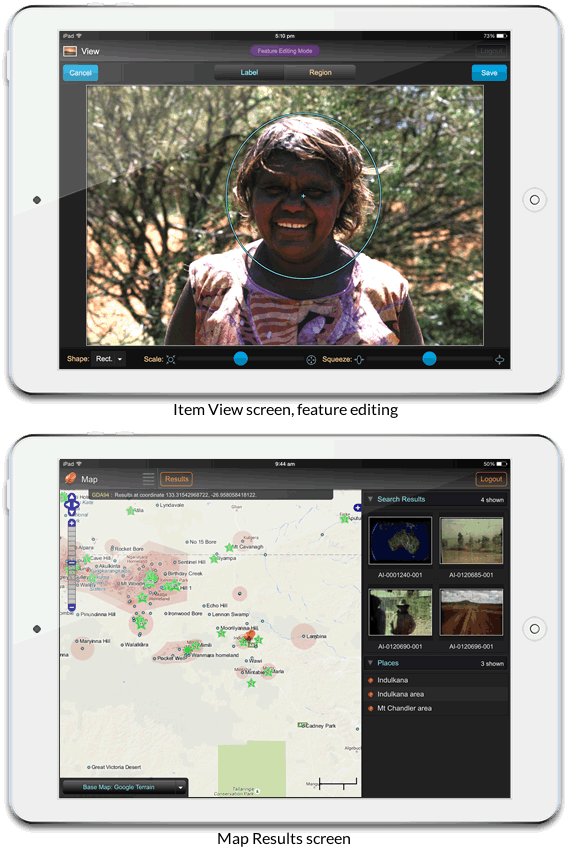 Mobile interface: editing feature (above) and map results screen (below)