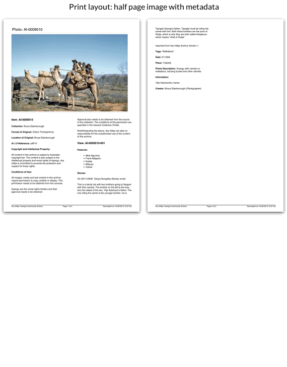 Print layout: half page layout with metadata