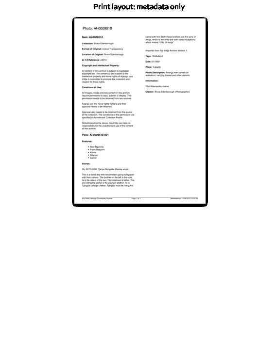 Print layout: metadata only