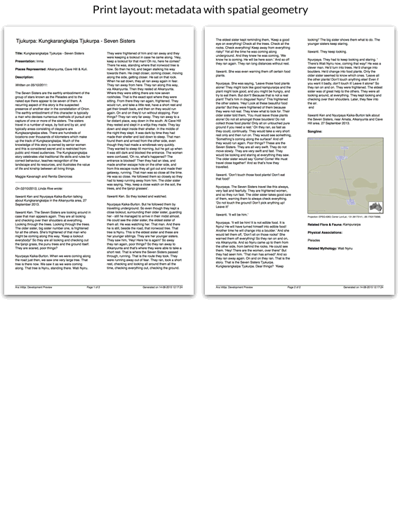 Print layout: metadata with spatial geometry