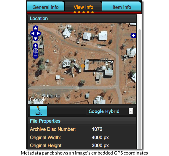 Medadata panel: shows an image's embedded GPS coordinates