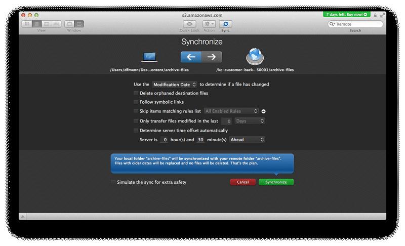 Transmit Synchronise settings panel