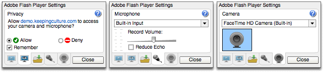 Adobe Flash Settings. Privacy, Microphone and Camera