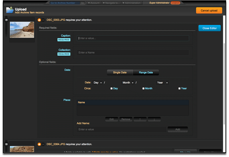 Metadata fields displayed for uploaded file.